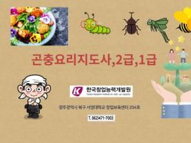 광주광역시 식용곤충요리전문가 양성 한국창업능력개발원에서 가능